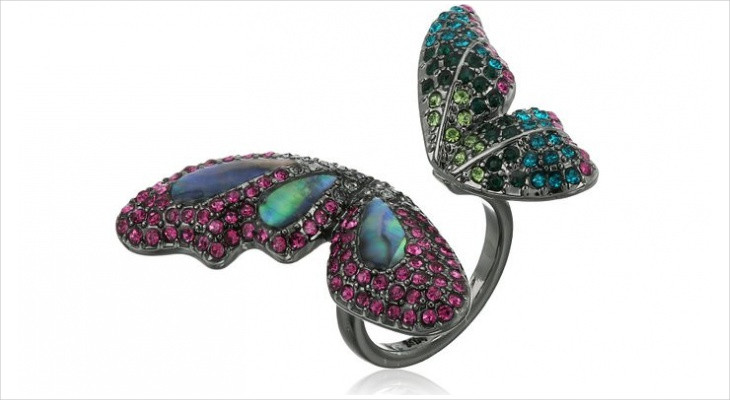 mixed stone butterfly ring