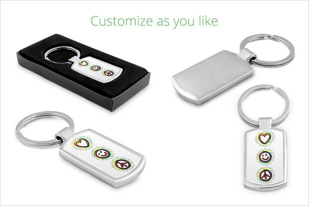 metal keychain design mockup
