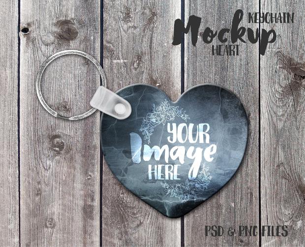 heart keychain mockup psd