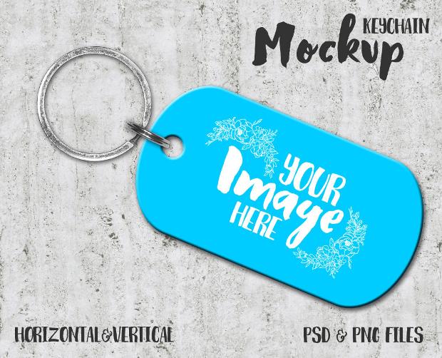 Dog Tag Keychain Mockup