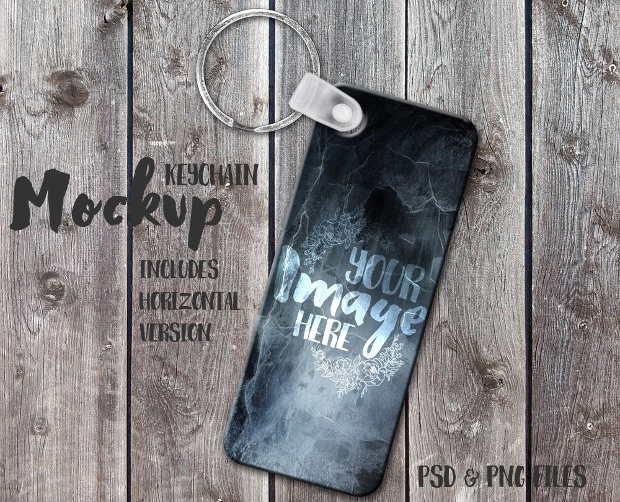 Long Rectangle Keychain Mockup