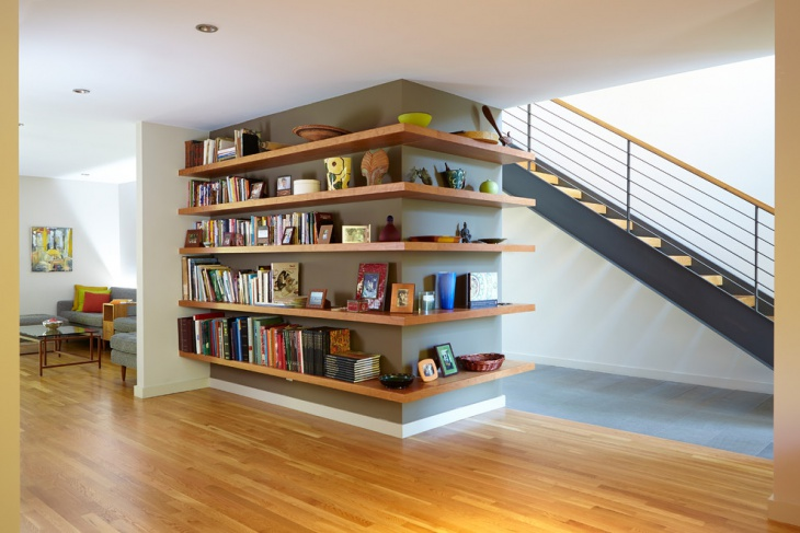 Wooden Staircase Wall Shelves Idea