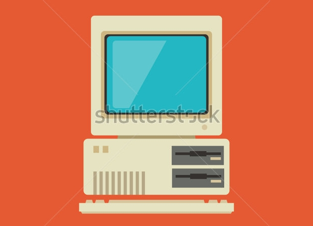 personal computer with keyboard vector