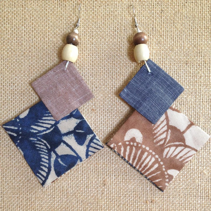 Mismatched Fabric Earrings