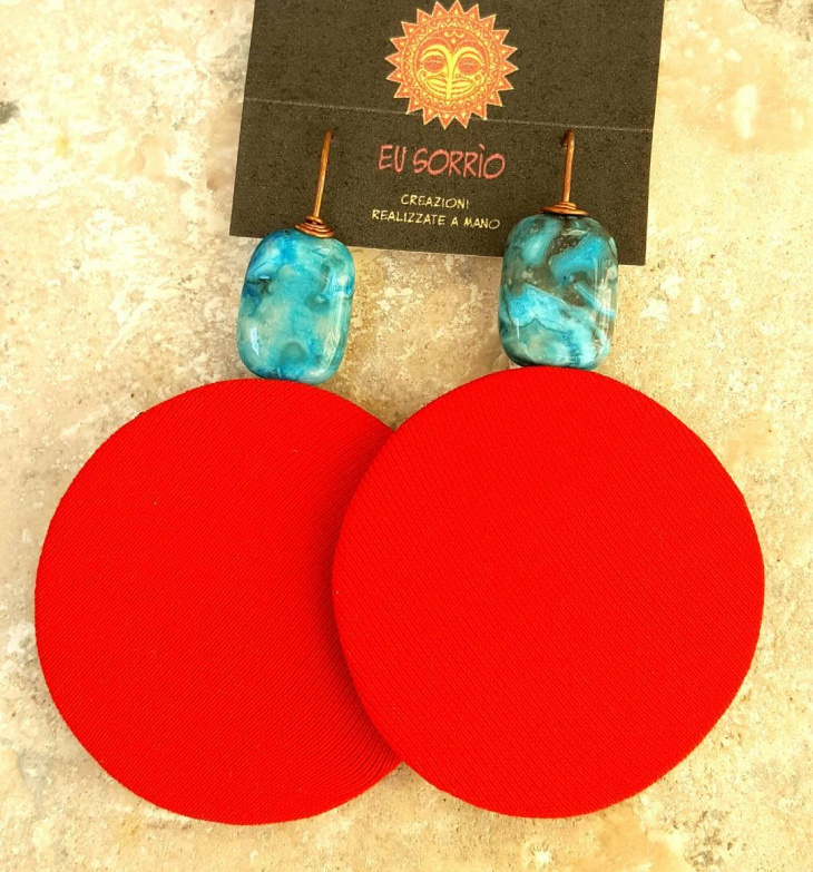 Red Fabric Earrings Idea