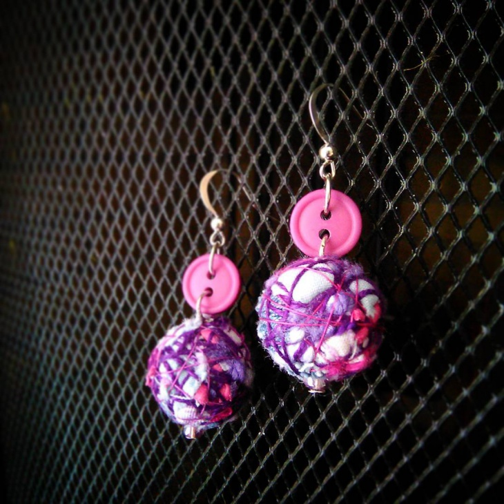Purple and Pink Fabric Earrings
