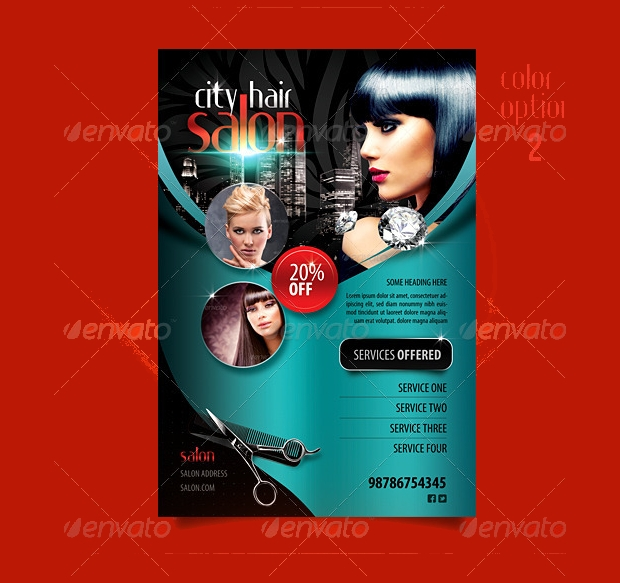 City Hair Salon and Promotional Flyer