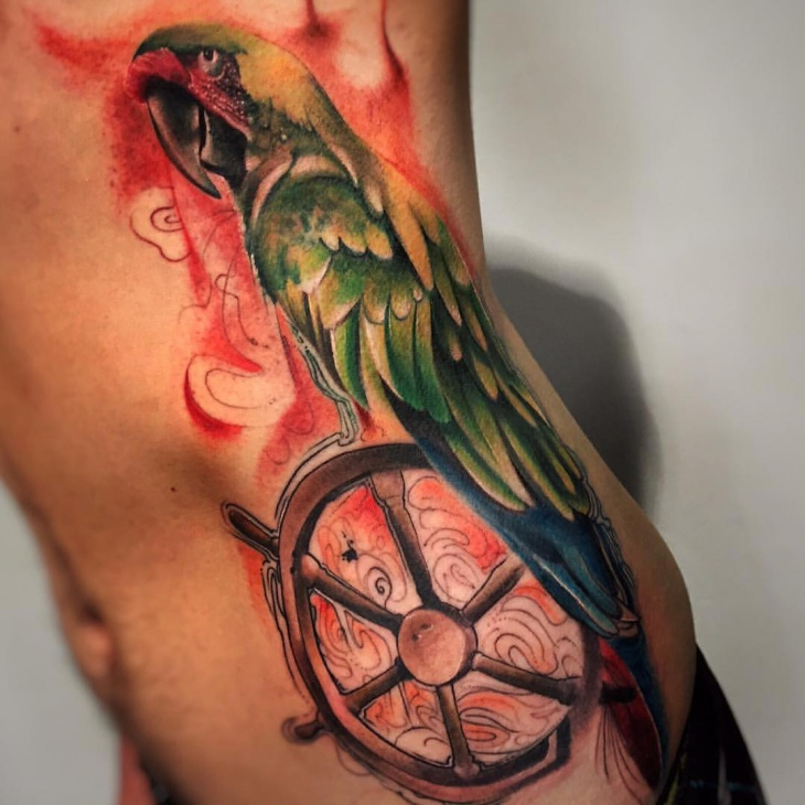 Scary Parrot Tattoo