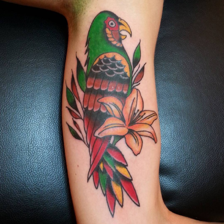 beautiful parrot tattoo design