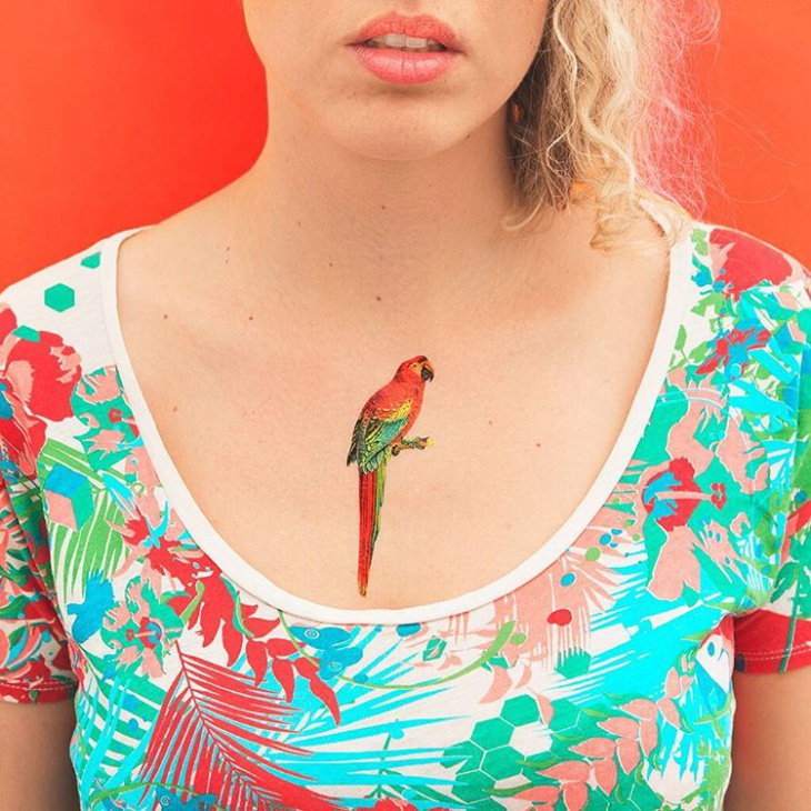 parrot tattoo for girls