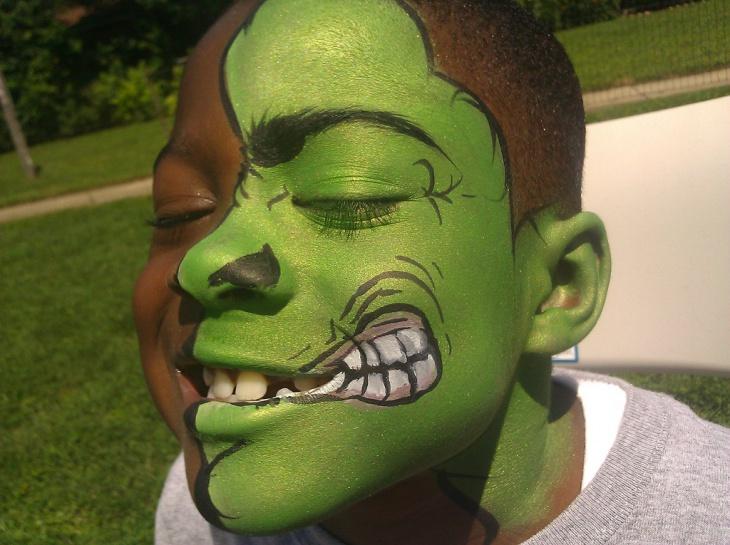 Hulk Half Face Makeup