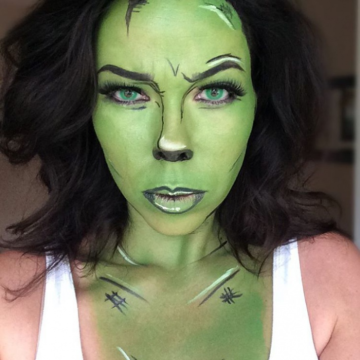 Green Hulk Theme Makeup