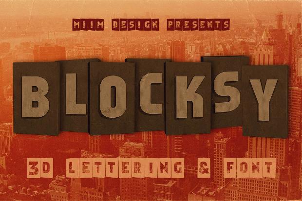 cool 3d block font