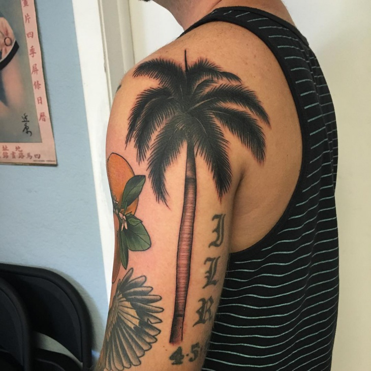 Palm Tree with Letters Tattoo
