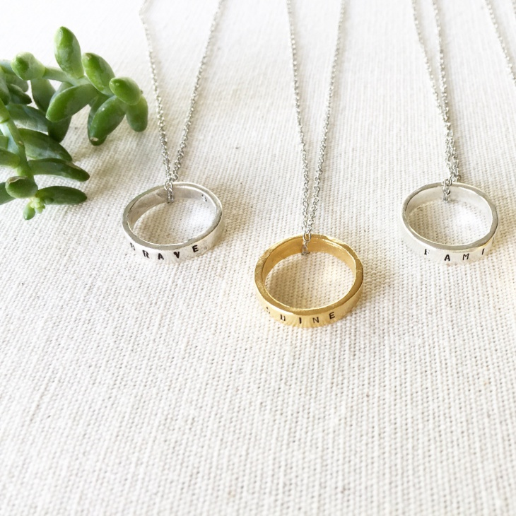 Message Ring Pendant Necklace