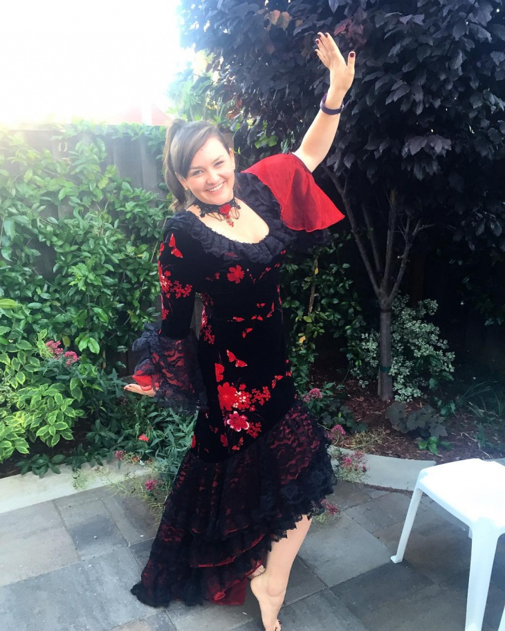 red and black flamenco dress