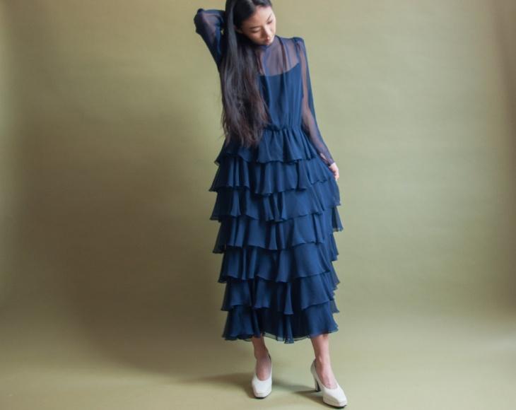 blue flamenco dress