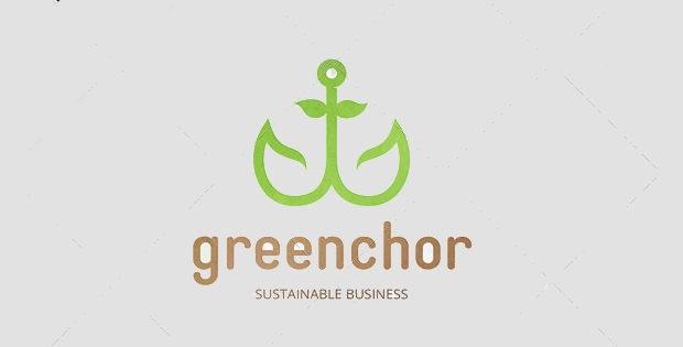 Green Anchor Floral Logo