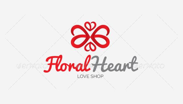 floral heart logo