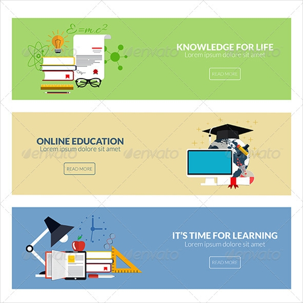 Flat Designed Education Banners