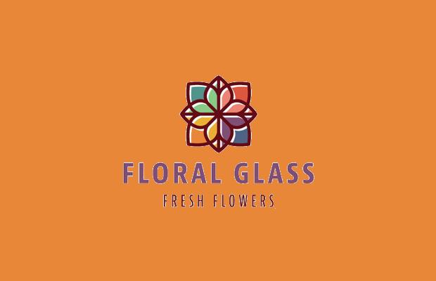 floral glass logo design