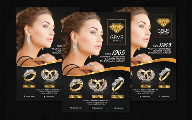 Black and Gold Jewelry Flyer Template