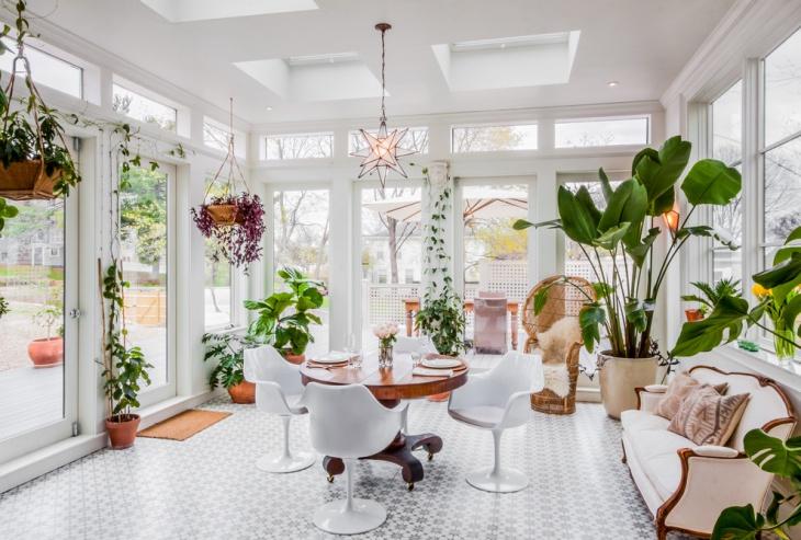 white flooring sunroom decorative idea