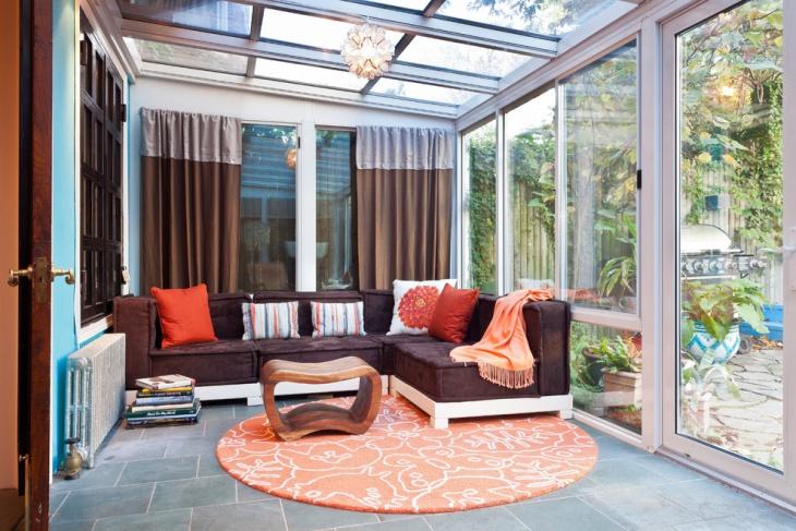 sunroom floor rug idea