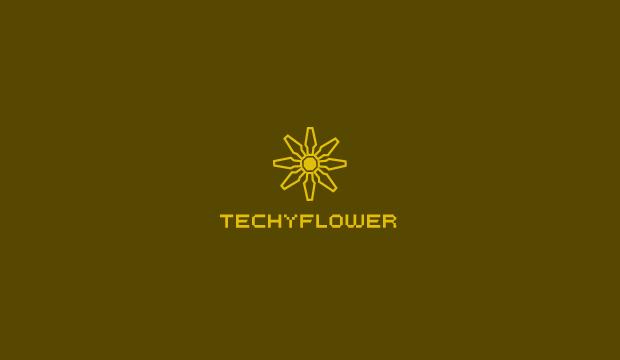 techy flower logo