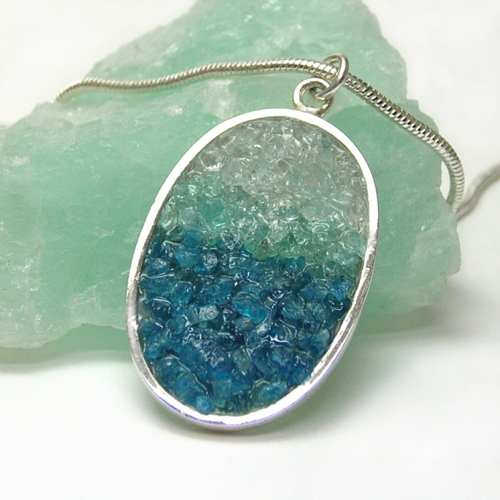 mosaic and aquamarine pendant