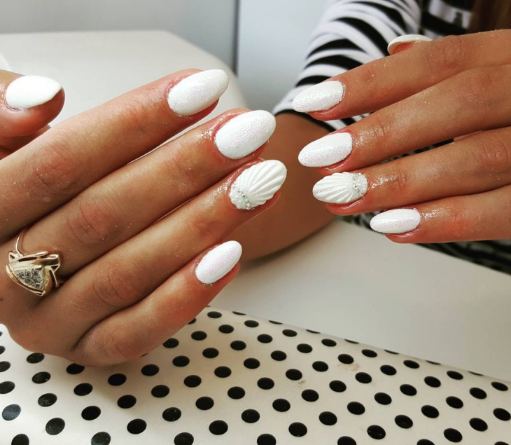 white pearl stone nails