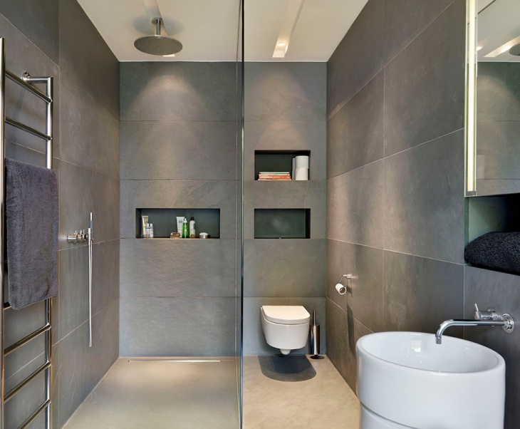 Open Shower Gray Tiles