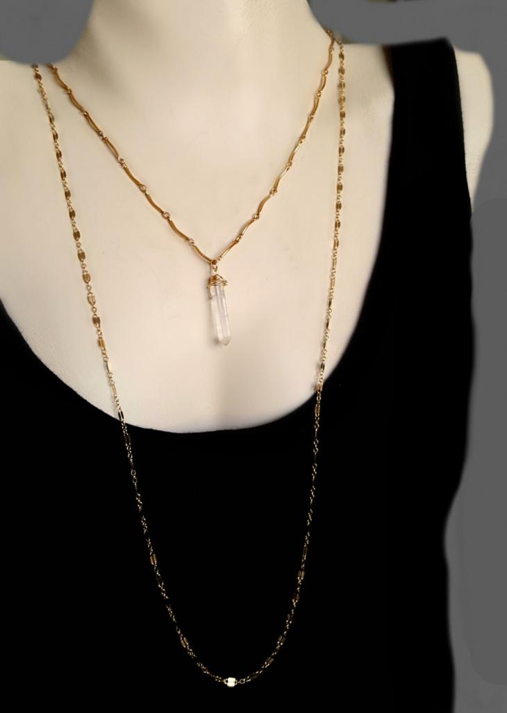 crystal stone pendant chain