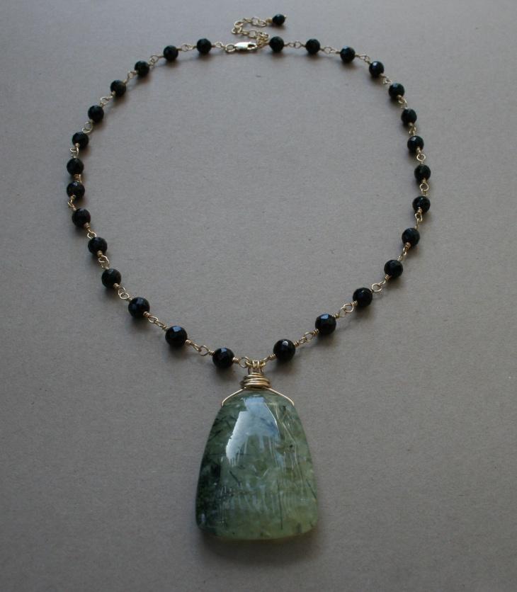 long stone pendant neck piece