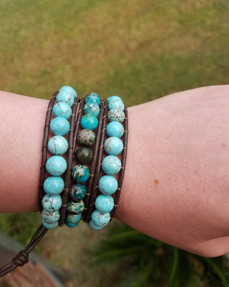 turquoise leather bracelet idea