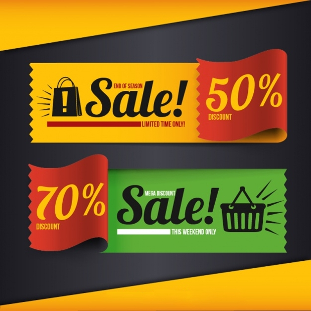 colorful sales banners