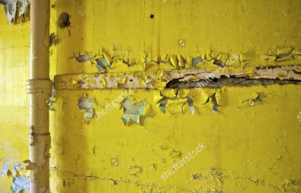 Yellow Cracked Peeling Paint Texture