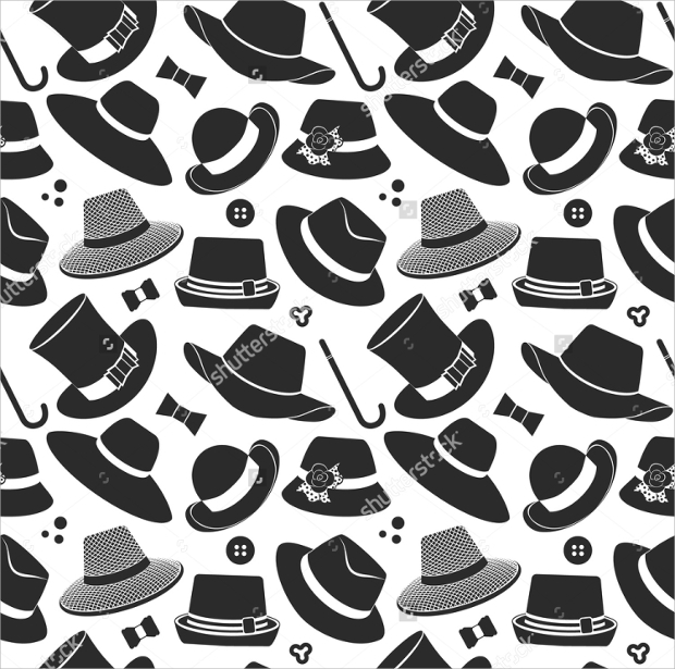 black and white contour hats pattern