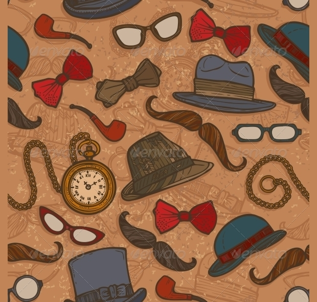 Vintage Hats and Glasses Seamless Pattern