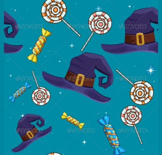 Halloween Seamless Pattern with Candy and Hat
