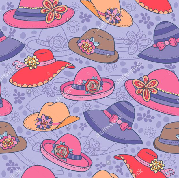 woman hat seamless pattern