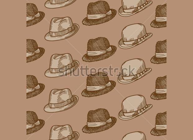 Retro Hand Drawn Hat Pattern