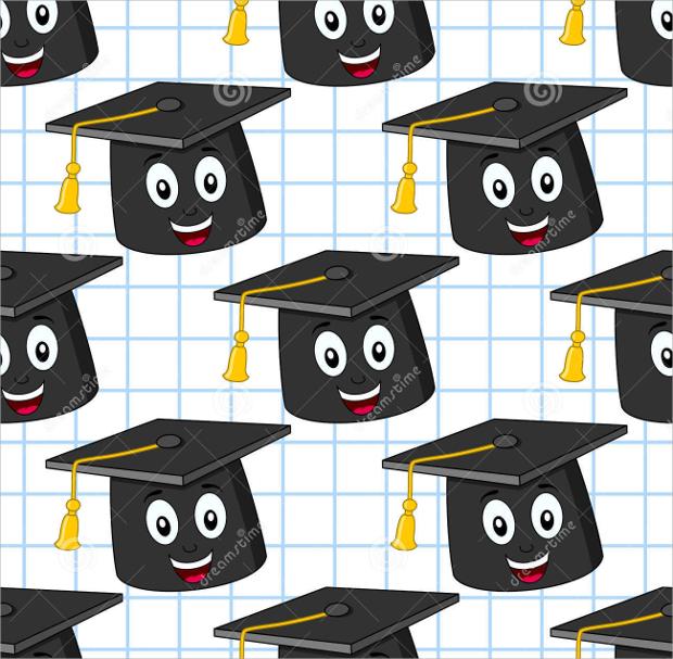 Cartoon Graduation Hat Seamless Pattern