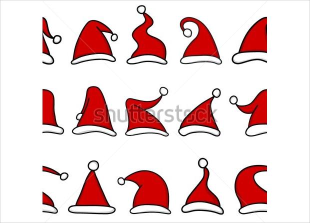 Red Hat Santa Seamless Pattern