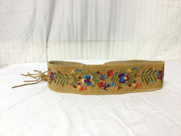 Suede Leather Embroidered Belt