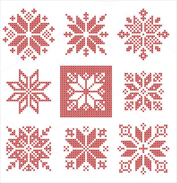 cross stitch snow flake pattern