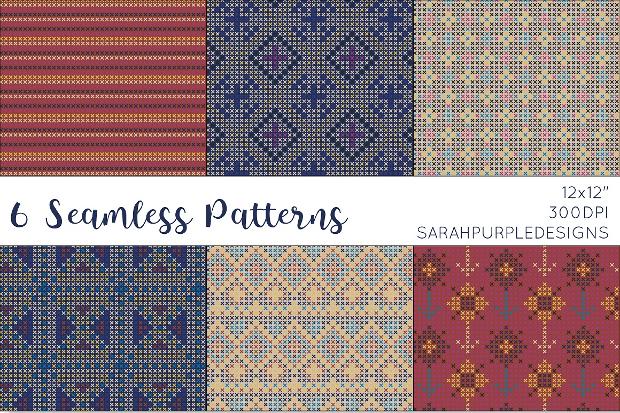 dark cross stitch seamless pattern