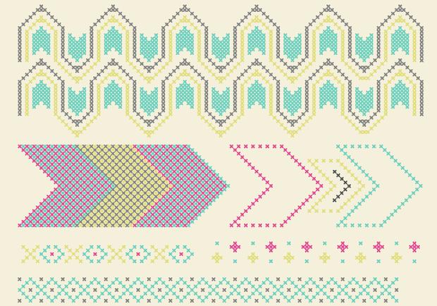 colored crosses stitch pattern design