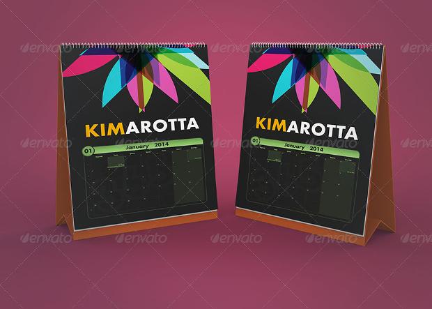 vertical calendar desk mockup design