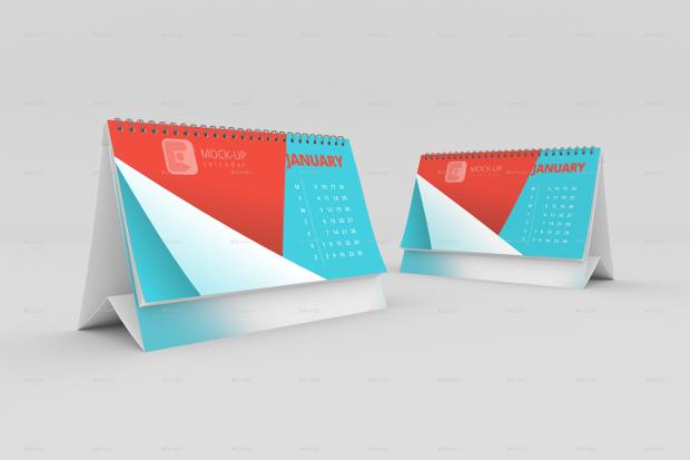 double desk calendar mockup template